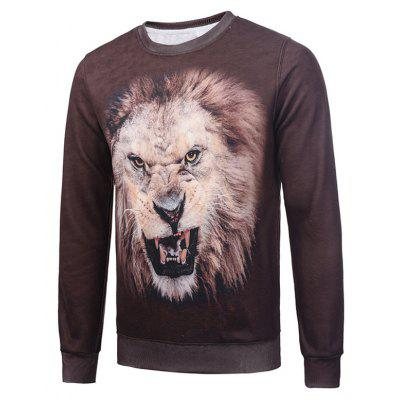 Graphic Flocking Crew Neck Brown Sweatshirt