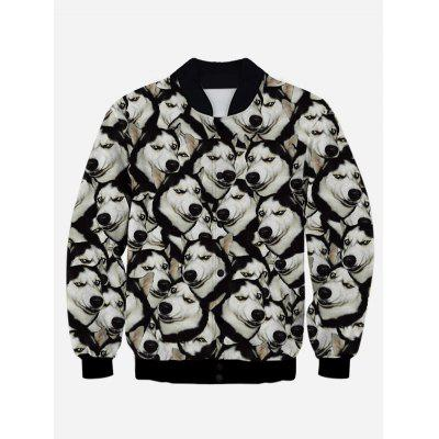 3D Animal Print Stand Collar Snap Front Jacket
