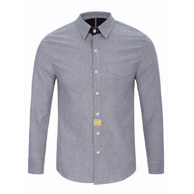 Turndown Collar Button Long Sleeve Pocket Shirt