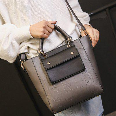 Embossing Metal Letter Pattern Tote Bag