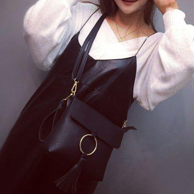 Metal Ring Tassels Magnetic Closure Crossbody Bag