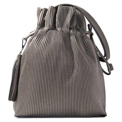 Tassel Drawstring Ribbed Shoulder Bag