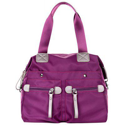Nylon Front Zip Pockets Shoulder Bag