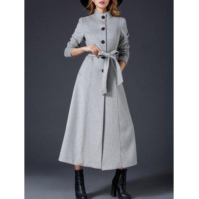 Wool Maxi Skirted Coat With Pocket