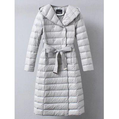 Coat Belted double breasted capuchon Down