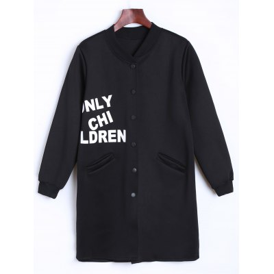 Letter Printed Long Bomber Coat
