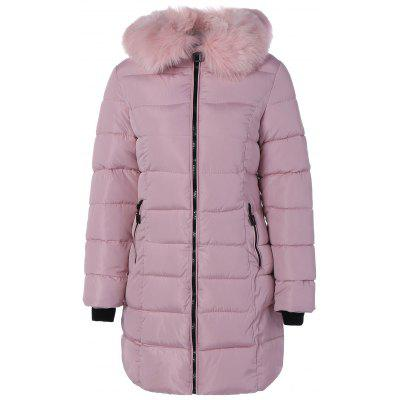Winter Faux Fur Stripy Hooded Down Jacket