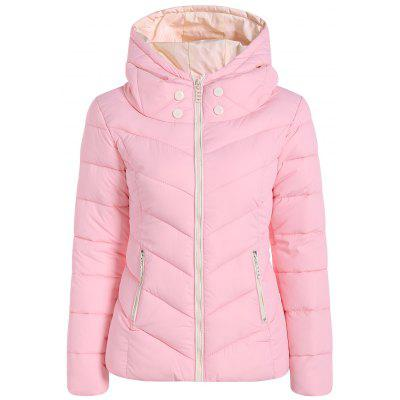 Bouton d'hiver Zipper Hooded Down Jacket