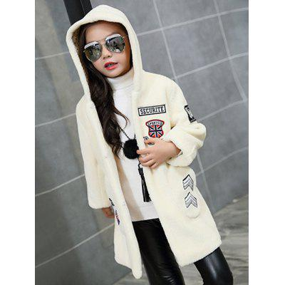 Girls Hooded Patch Long Coat