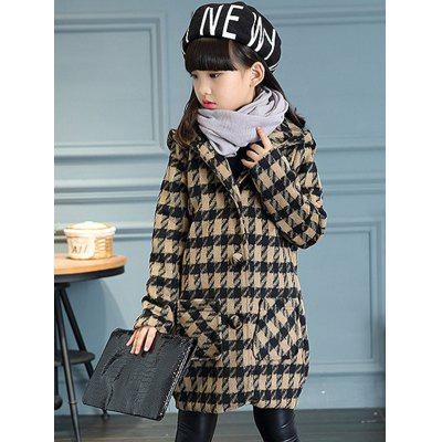 Girls Hooded Plaid Long Wool Coat