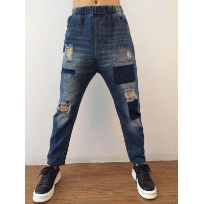 Buy DENIM BLUE L Applique Tapered Distressed Harem Jeans for $30.00 in GearBest store
