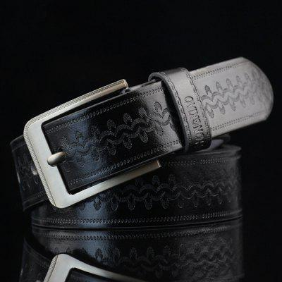 Pin Buckle Wavy Embossed Wide Belt