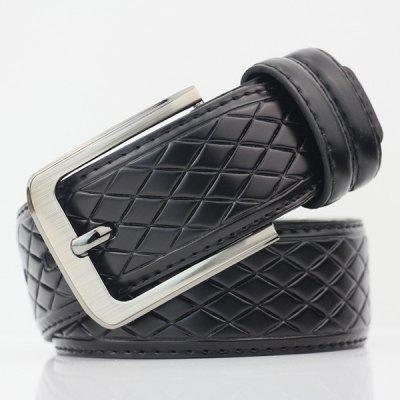 Rhombus Mesh Plaid Pin Buckle PU Wide Belt