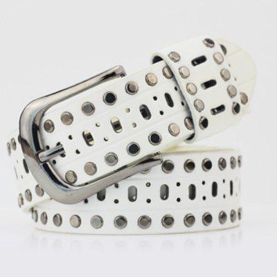 Pin Buckle Hollow Out Hole PU Studded Waist Belt