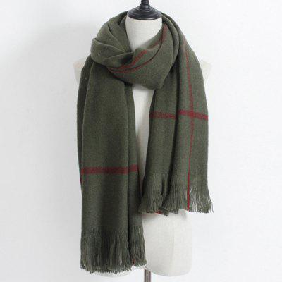 Plaid Print Fringe Winter Scarf