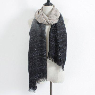 Winter Double Color Gradient Fringe Scarf