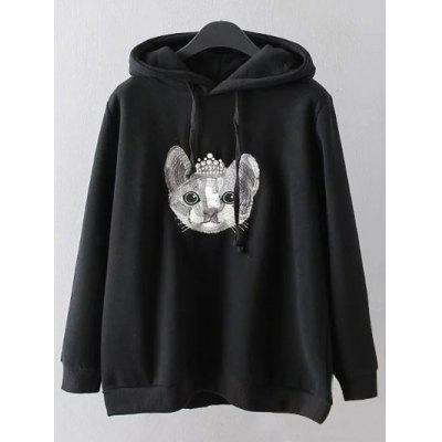Cartoon Embroidered String Hoodie