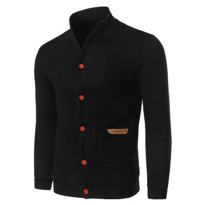 Buy BLACK XL Stand Collar Pocket Front Button Up Plain Cardigan for $17.93 in GearBest store