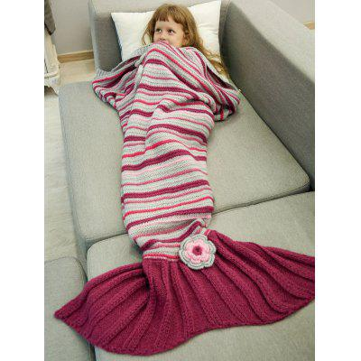Buy RED Stripe Crochet Sleeping Bag Wrap Mermaid Blanket For Kids for $29.46 in GearBest store