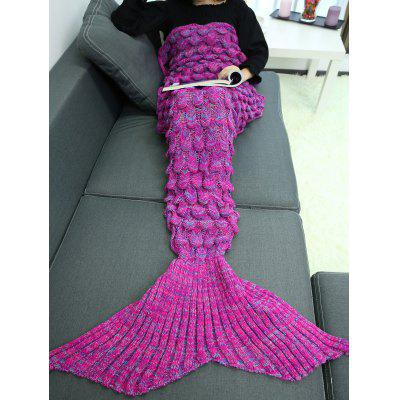 Buy DEEP PURPLE Knitting Fish Scales Design Mermaid Tail Style Blanket for $27.13 in GearBest store