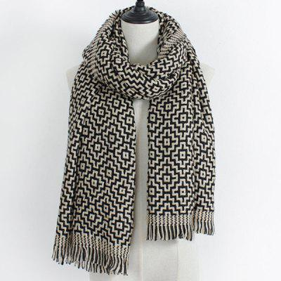 Winter Maze Pattern Knit Fringe Scarf