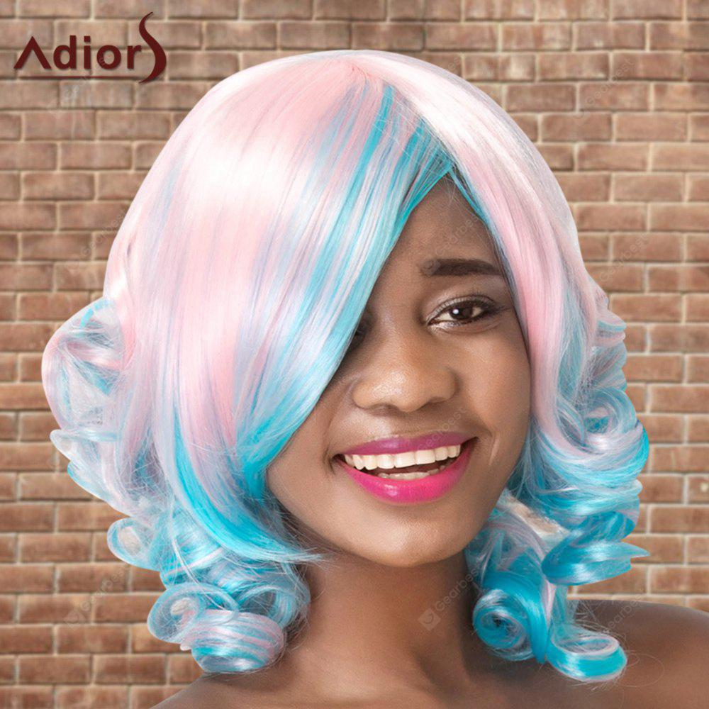 Adolescente Medium Colormix Side Bang Curly Cosplay peruca sintética