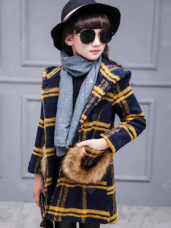 YELLOW Faux Fur Single-Breasted Plaid Woolen Coat