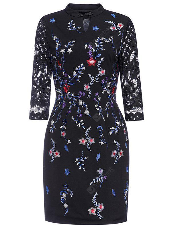 Keyhole Floral Embroidered Fitted Dress