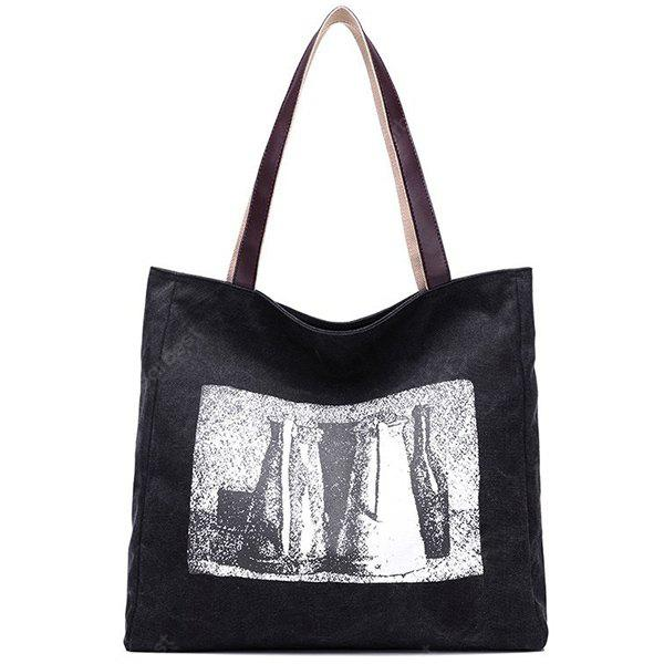Canvas Sketch Print Shoulder Bag