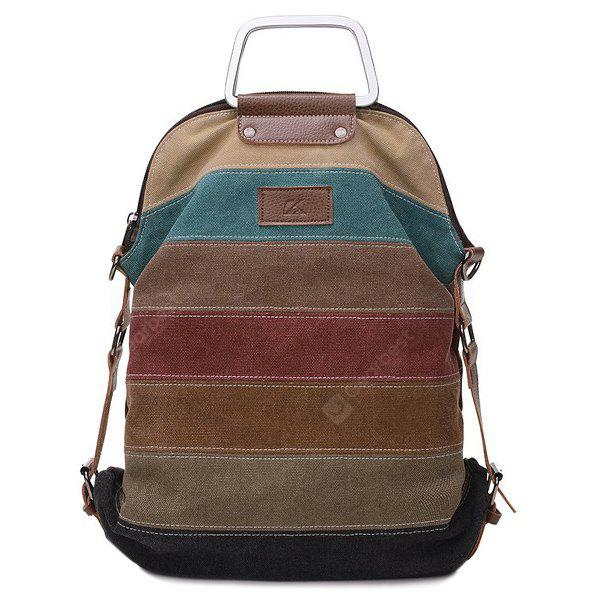 Color Block Metal Handle Canvas Backpack