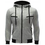 Zipper Embellished Patchwork Hoodie with Pockets - GRAY