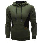 Color Splicing PU Leather Embellished Hoodie - ARMY GREEN