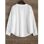 Floral Embroidered Linen Loose Shirt - WHITE