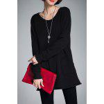 Scoop Neck Long Tunic Sweater - BLACK
