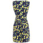 Lemon Print Fit and Flare Dress - PURPLISH BLUE