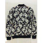 3D Animal Print Stand Collar Snap Front Jacket - BLACK