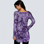V Neck Tie Dye Long Sleeve Tee - PURPLE