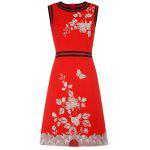 Sleeveless Hand Embroidery A Line Dress - RED
