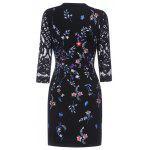 Keyhole Floral Embroidered Fitted Dress - PURPLISH BLUE