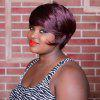 Short Double Color Full Bang Spiffy Straight Synthetic Wig - COLORMIX