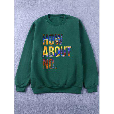 Rib Cuff Crew Neck Flocking Graphic Green Sweatshirt