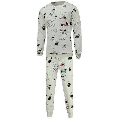 Cartoon Print Crew Neck Sweatshirt and Jogger Pants Twinset