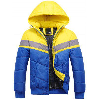 Hooded Color Block Spliced Zip Up Thicken Padded Jacket