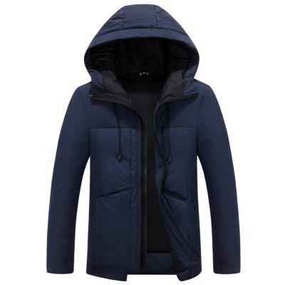 Hooded Drawstring Design Thicken Zip Up Down Jacket