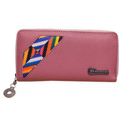 Geometric Pattern Textured Leather Wallet