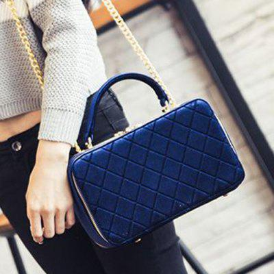 Chain Argyle Pattern Zippers Crossbody Bag