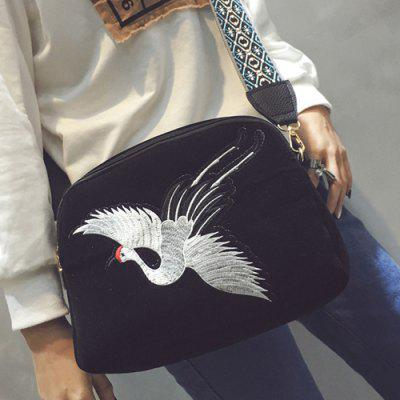 Buy BLACK Colour Splicing Embroidery Zipper Crossbody Bag for $9.61 in GearBest store