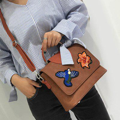Buy BROWN Color Block Embroidery Crossbody Bag for $26.03 in GearBest store