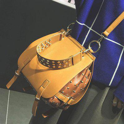 Metal Ring Rivets PU Leather Crossbody Bag