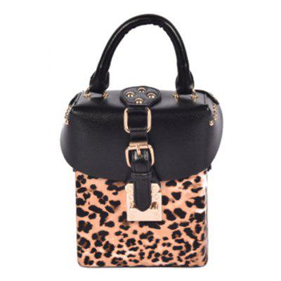 Buckle Box Shape Leopard Print Crossbody Bag